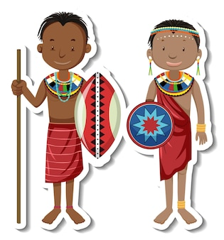 Autocollant de personnage de dessin animé de couple tribal africain