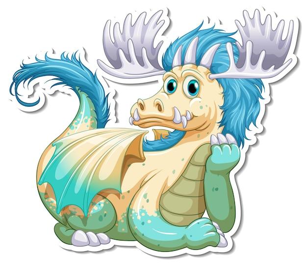 Autocollant de personnage de dessin animé dragon fantastique