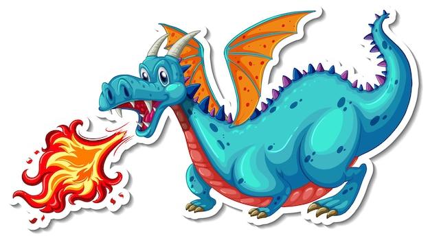 Autocollant de personnage de dessin animé dragon mignon