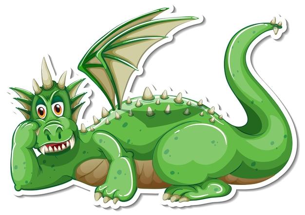 Autocollant de personnage de dessin animé dragon vert