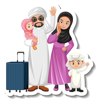 Autocollant de personnage de dessin animé de famille arabe heureux sur fond blanc