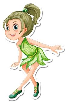 Autocollant de personnage de dessin animé de fée mignon