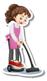 Autocollant de personnage de dessin animé avec une femme de ménage à l'aide d'un aspirateur