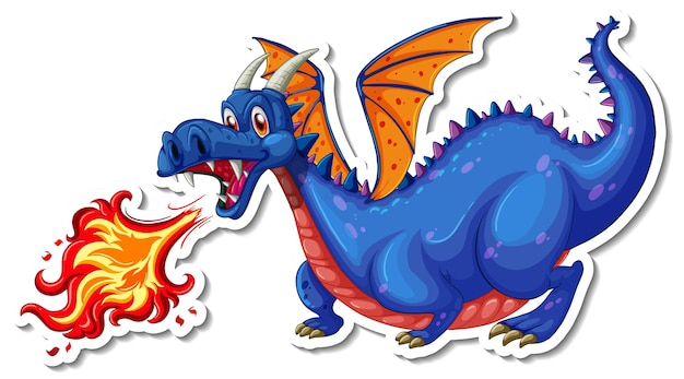 Autocollant de personnage de dessin animé de feu soufflant de dragon