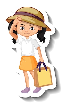 Autocollant de personnage de dessin animé fille asiatique