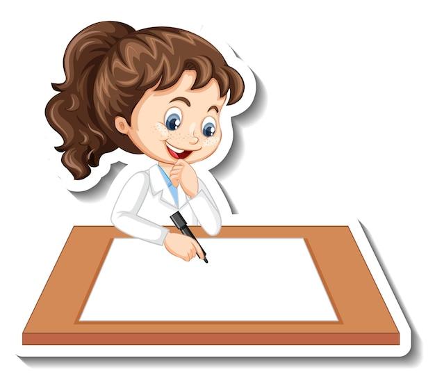 Autocollant de personnage de dessin animé avec une fille écrivant sur du papier blanc
