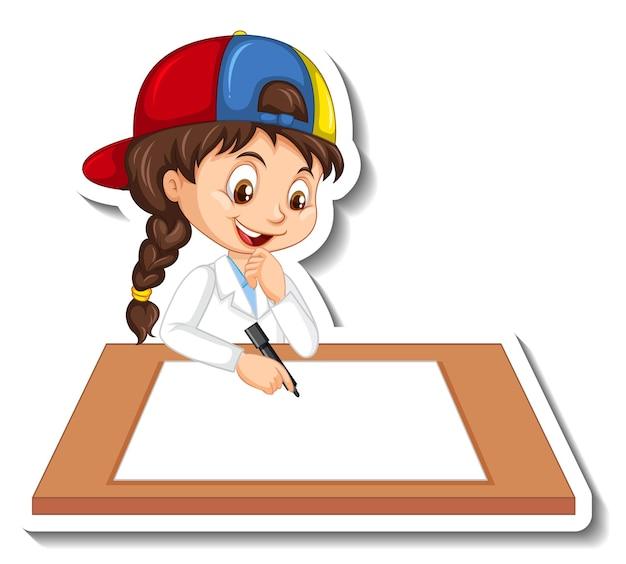 Autocollant de personnage de dessin animé avec une fille écrivant sur du papier vierge