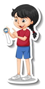 Autocollant de personnage de dessin animé avec une fille d'entraîneur de sport tenant une minuterie