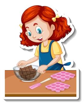 Autocollant de personnage de dessin animé une fille avec des équipements de cuisson