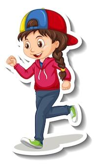 Autocollant de personnage de dessin animé avec une fille jogging sur fond blanc