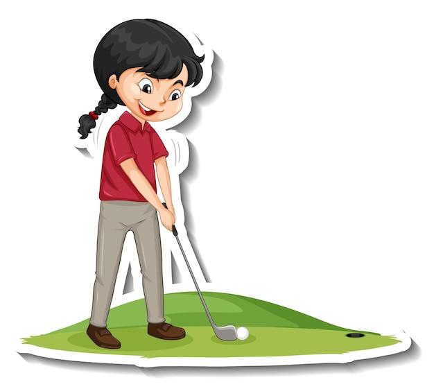 Autocollant de personnage de dessin animé avec une fille jouant au golf