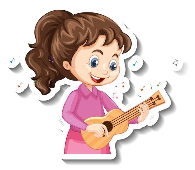 Autocollant de personnage de dessin animé avec une fille jouant du ukulélé
