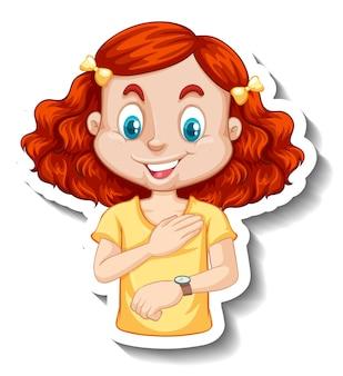 Autocollant un personnage de dessin animé de fille regardant une montre-bracelet