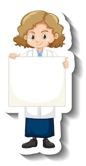 Autocollant de personnage de dessin animé avec une fille scientifique tenant un plateau vide