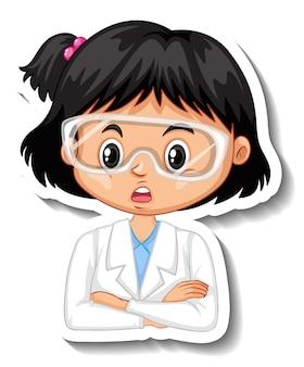 Autocollant de personnage de dessin animé fille scientifique