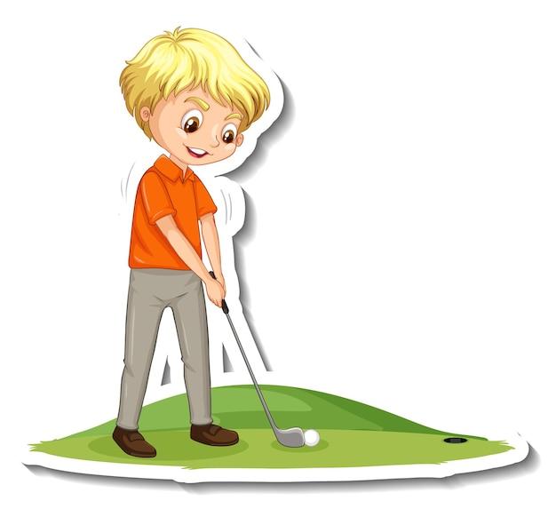 Autocollant de personnage de dessin animé avec un garçon jouant au golf
