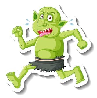 Autocollant de personnage de dessin animé gobelin ou troll vert