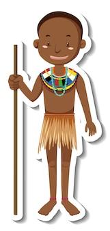 Autocollant de personnage de dessin animé homme tribal africain