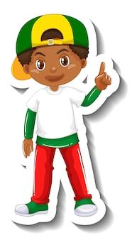 Autocollant de personnage de dessin animé mignon garçon africain