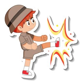 Autocollant de personnage de dessin animé petit garçon scout