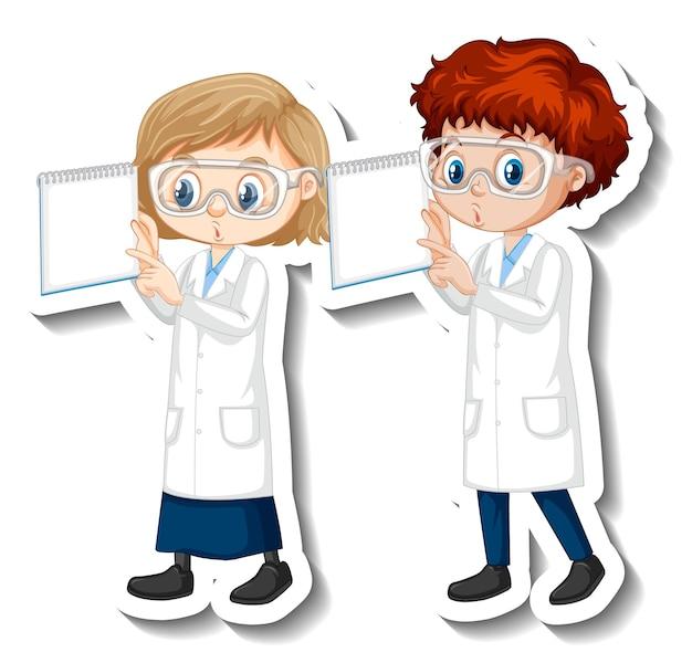 Autocollant de personnage de dessin animé avec des scientifiques en couple en robe scientifique