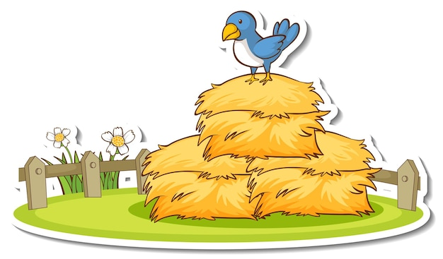 Autocollant petit oiseau debout sur une botte de foin