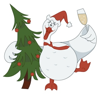 Autocollant avec une photo d'une oie serrant un arbre de noël et tenant une coupe de champagne