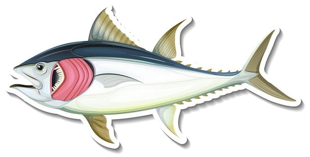 Autocollant poisson avec branchies sur blanc