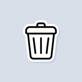 Autocollant de poubelle. bouton supprimer. corbeille à ordures. vecteur sur fond isolé. eps 10.