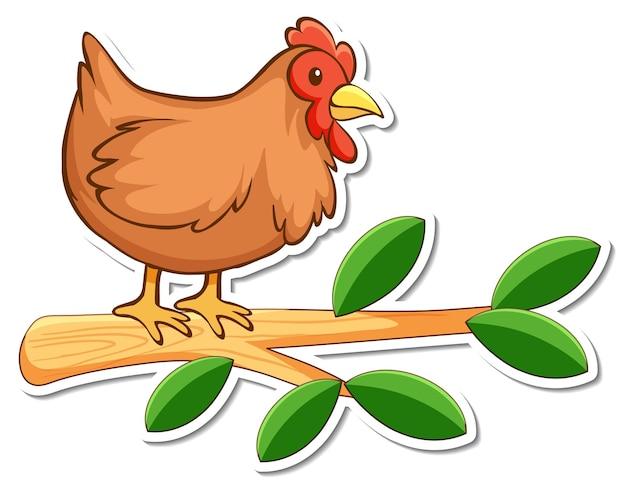 Autocollant poulet debout sur une branche
