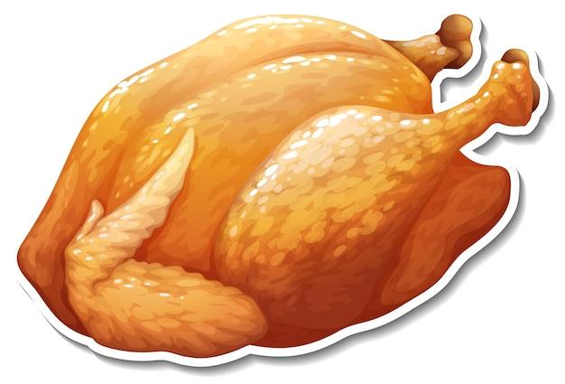 Autocollant de poulet frit sur fond blanc