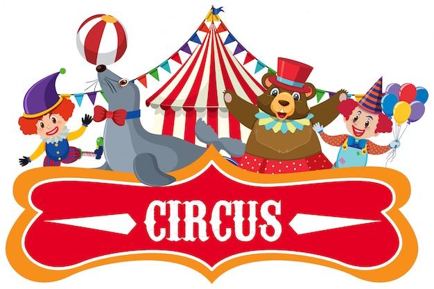 Autocollant Pour Le Cirque Avec Beaucoup D'animaux Vecteur Premium