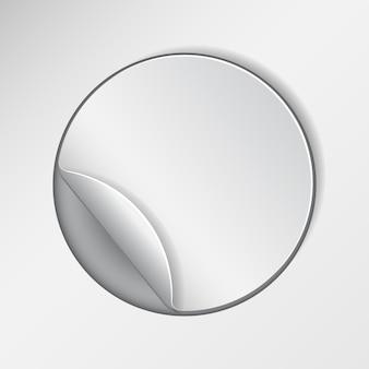 Autocollant promotionnel rond et vierge, découpé dans du papier blanc. illustration vectorielle