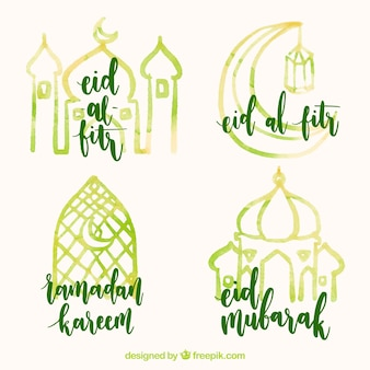 Autocollant ramadan d'aquarelle