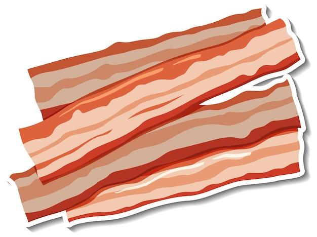 Autocollant de rayures de bacon cru sur fond blanc