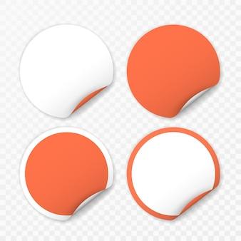 Autocollant rond blanc avec coins recourbés sur fond transparent