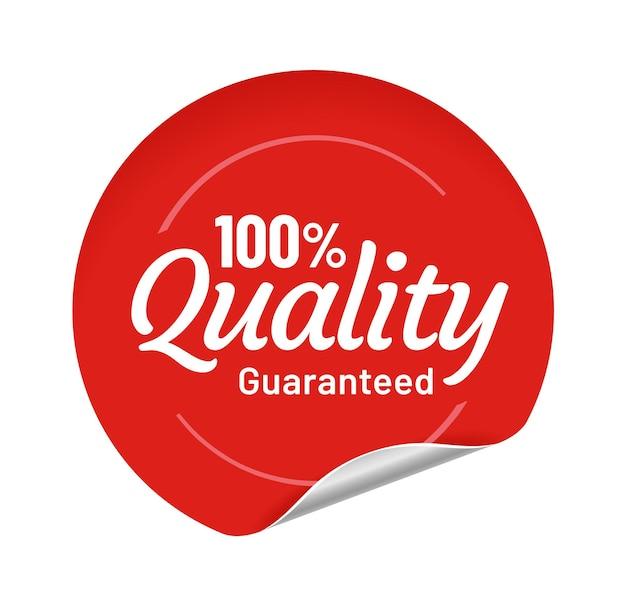 Autocollant rond rouge de qualité garantie avec bord courbé. badge en papier adhésif pour le commerce, la vente de produits en magasin ou en magasin. meilleur label de qualité isolé sur illustration vectorielle de dessin animé blanc