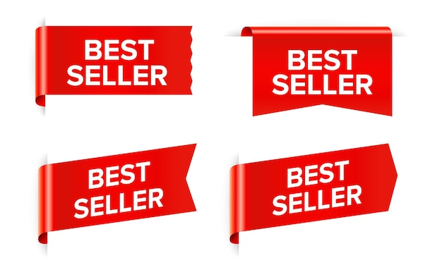 Autocollant rouge best-seller et tag isolated on white