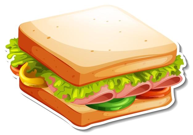 Autocollant sandwich bologne sur fond blanc