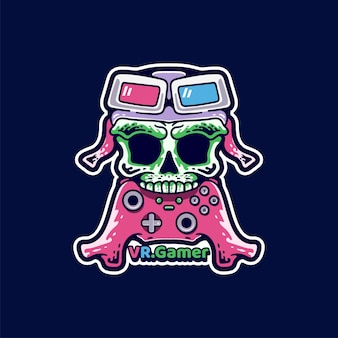 Autocollant de style moderne skull gamer illustration