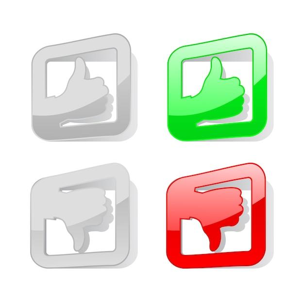 Autocollant De Symbole De Pouce De Haut En Bas Vecteur Premium