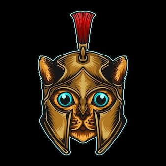 Autocollant et t-shirt mascotte personnage logo chat spartiate avec chapeau de noël