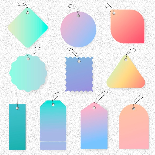 Autocollant tag pastel, collection d'espace de texte clipart simple vecteur vierge