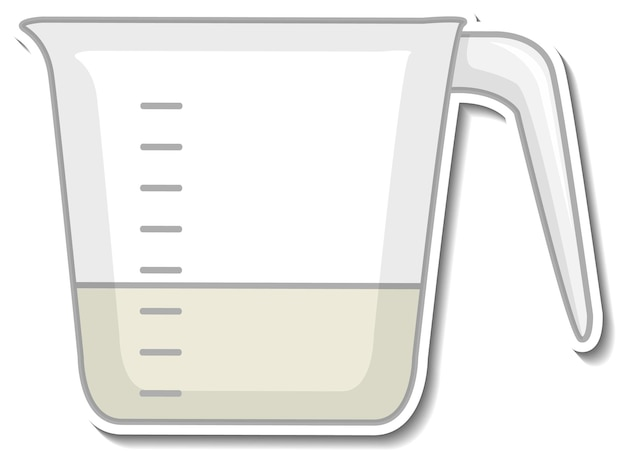 Autocollant tasse à mesurer sur fond blanc
