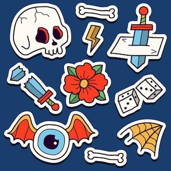 Autocollant de tatouage de crâne de dessin animé kawaii dessiné à la main
