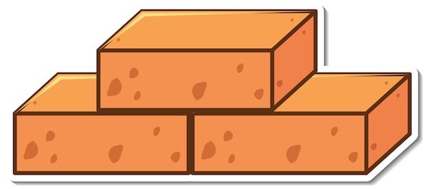 Autocollant de trois blocs de briques sur blanc