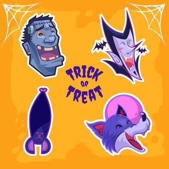 Autocollant de l'univers des monstres d'halloween du comte dracula frankenstein, loup-garou et chauve-souris