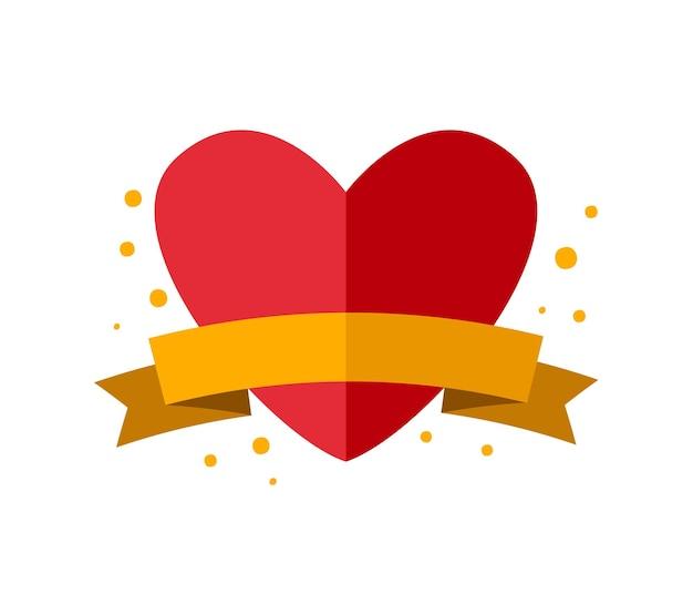Autocollant de vecteur de couleur avec coeur rouge mignon et ruban avec place pour le texte. caractère d'insigne d'amour dessiné à la main pour ordinateur portable, album ou planificateur. illustration graphique plat isolé de la saint-valentin.