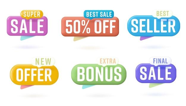 Autocollant de vente de couleur sertie de conception de bulle de dialogue