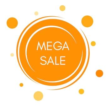 Autocollant de vente méga avec des formes rondes jaunes abstraites. illustration vectorielle